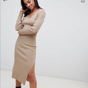 Cream midi sweater dress